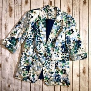 Coldwater Creek Floral Watercolor Blazer Jacket